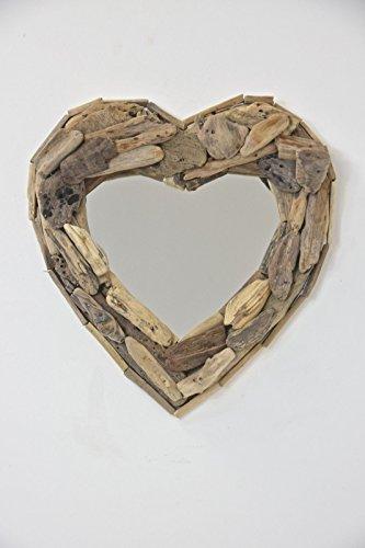 Corazón espejo con marco de trozos de madera 30x 30cms aprox. Hecho a mano. Comercio justo por Funky mundial