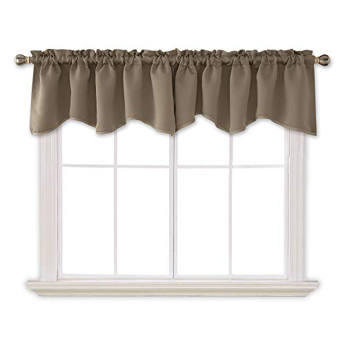 Deconovo Decorative Solid Rod Pocket Curtains Valances Window Scalloped Blackout Drapes for Bedroom, 52x18 Inch, Khaki