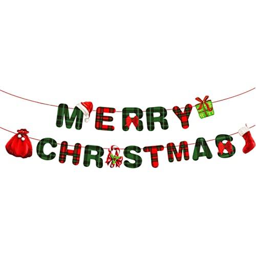 YUDIAN 5 Stile Hängende Bunting Banner Weihnachtsfeier Dekorationen DIY Ornamente Cartoon Frohe Weihnachten Buchstaben Santa Weihnachtsbaum Flagge Geschenkbox für Indoor Outdoor Home Office Hotel U