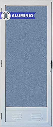 Puerta Balconera Aluminio Practicable Izquierda 800 ancho x 2000 alto con Rejilla de ventilación y cristal mate carglass 1 hoja