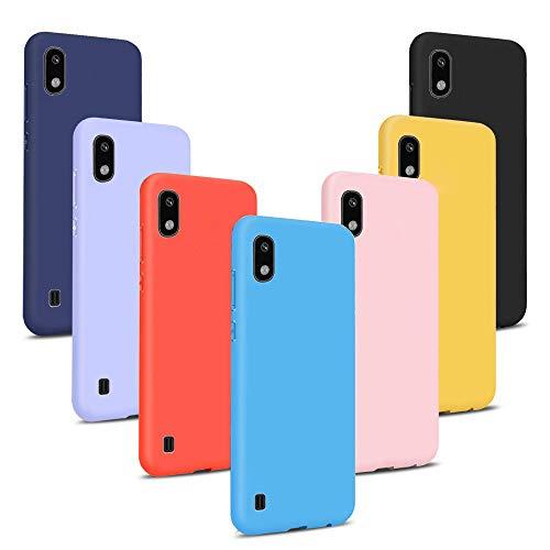 7x Funda para Galaxy A10, 7 Unidades Carcasas Juntas Ultra Fina Silicona TPU Gel Protector Flexible Colores Case Cover para Samsung Galaxy A10 - Rojo, negro, rosa, azul, azul oscuro, amarillo, lavanda