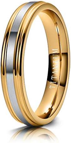 M MOOHAM 4mm Titanium Rings Silver and Gold Mens Wedding Band Brush Center Step Edge Wedding product image