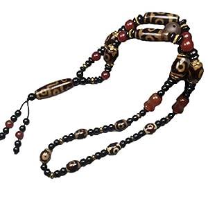 ZHIBO Natürlicher alter Achat Dzi Perlen Halskette Schmuck senden Zertifikat