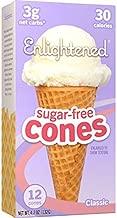 ENLIGHTENED ICE CREAM Sugar-Free Ice Cream Cones - Vegan Friendly, Sugar Free, Dairy Free - Low Calorie (30 Calories) - Low Carb (Net 3g) - 12pk