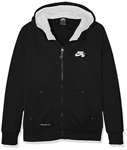 Nike SB Jungen Kapuzenpullover Solid TF Logo Full Zip Schwarz (Black) Small (Herstellergröße: 8-10Y)