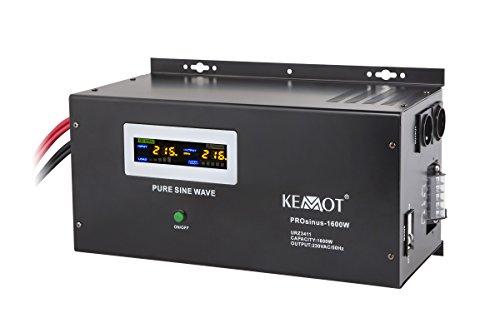 Notstromversorgung KEMOT PROsinus-1600 URZ3411 Wechselrichter reiner Sinus Ladefunktion 12V 230V 3000VA/1600W, schwarz