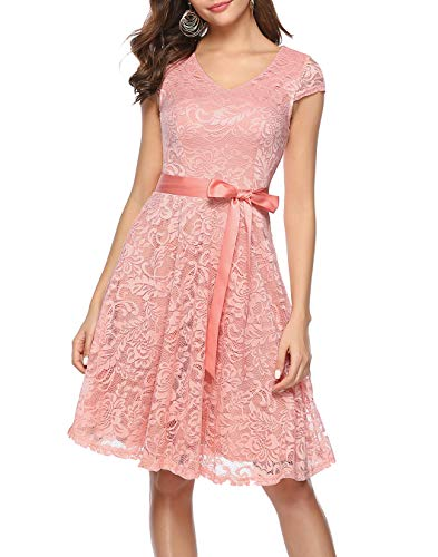 BeryLove Damen V-Ausschnitt Kurz Brautjungfer Kleid Cocktail Party Floral Kleid BLP7006BlushXS