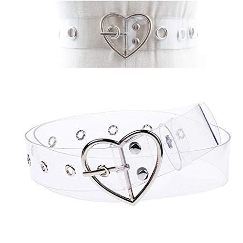 PPX Gürtel Damen Schmaler Damengürtel Transparent PVC Herz Quadrat Round Pattern Schmal Taillengürtel (Silber/Herz)