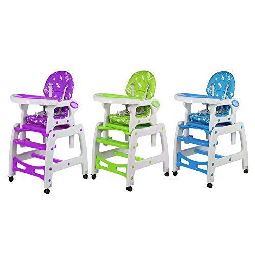 Hochstuhl - Kleinkind Hochstuhl 3 in 1 Multifunktions-Baby Kleinkind Hochstuhl Verstellbarer Spieltisch Liegeposition(Lila)