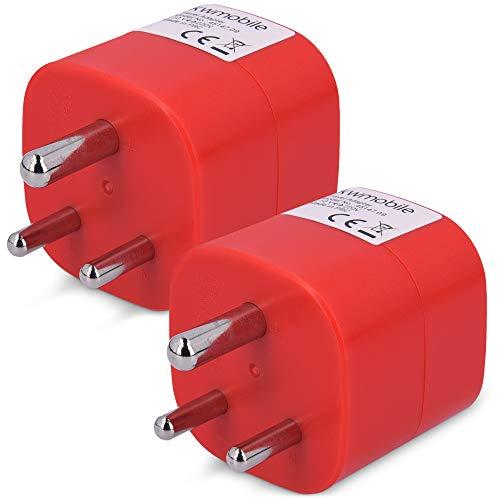 kwmobile 2X Adaptador de Viaje para India Tipo D - Adaptadores de Enchufe schuko - Conector para Nepal Sri Lanka Emiratos Árabes Unidos Eau - Rojo