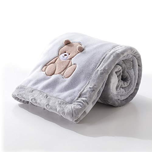 TISI - Coperta in pile 100% super morbida in flanella per neonati, per carrozzine e culle, ideale per bambini di età compresa tra 0 e 12 mesi (grigio)