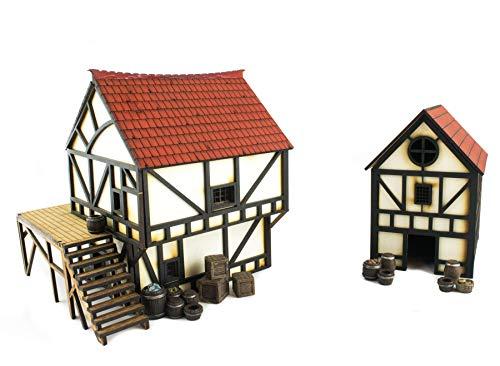 War World Gaming Medieval Town Cottage und Bürgerhaus Set mit Harz-Zubehör (Vorbemalt/Unbemalt) - 28mm Fantasie Tabletop Gelände Modell Modellbau