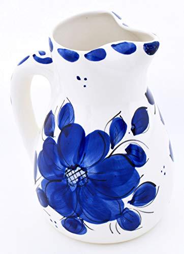 ART ESCUDELLERS CRUCHE en céramique Faite et Peint à la Main avec décoration Bleu Classic. 17 cm x 14 cm x 20 cm