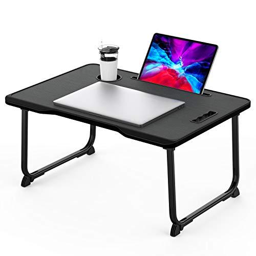KELOFO Mesa para Ordenador Portátil, Portátil Mesa Cama Plegable Mesa Escritorio Plegable con Portavasos/Soporte para Tableta/Manija (60 * 42 cm, Negro)