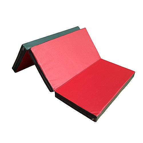 NiroSport Weichbodenmatte 210 x 100 x 8 cm klappbar Turnmatte Gymnastikmatte Fitnessmatte Sportmatte Trainingsmatte Bodenmatte Schutzmatte Übungsmatte wasserdicht faltbar (Rot/Grün)