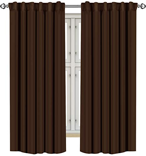 Utopia Bedding 2 Panels Rod Pocket Blackout Curtains with 2 Tie Backs W52 x L63 Inches, Thermal Insulated Window Draperies - 7 Back Loops per Panel, Chocolate
