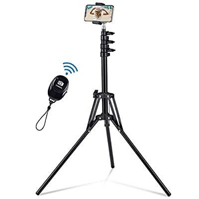 """Selfie Stick Tripod, 63"""" Extendable Tripod Stand with Wireless Remote for iPhone & Android Phone, Camera, Metal Lightweight - Black from beijingshengshiwanweikejiyouxiangongsi"""