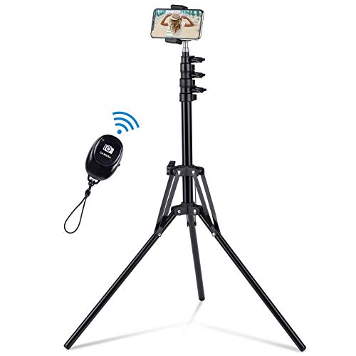 """Selfie Stick Tripod, 63"""" Extendable Tripod Stand with Wireless Remote for iPhone & Android Phone, Camera, Metal Lightweight - Black"""