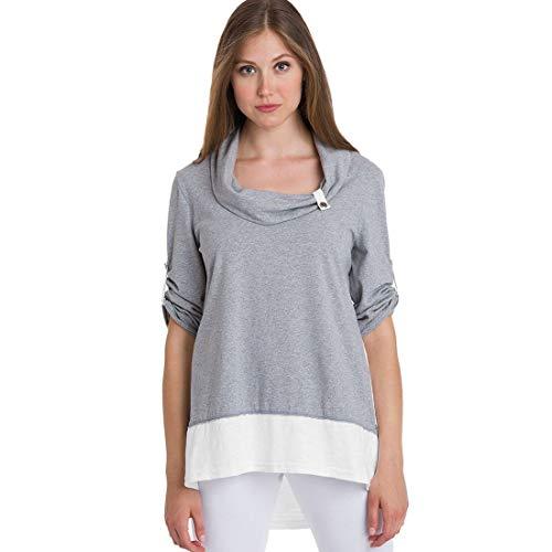 Neon Buddha Women's Comfy Cotton 3/4 Sleeves Tunic Top, White, Medium