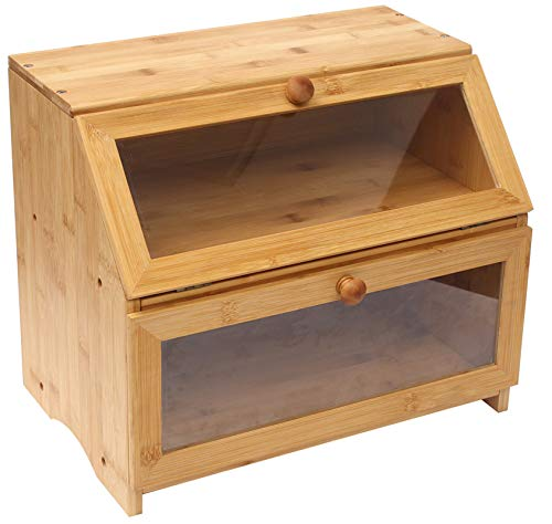 Bamboo Bread Box,2 Layer Large Capacity Bread Bin for Kitchen, Bread Container with Clip, Multifunction
