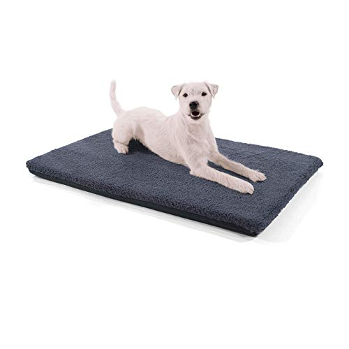 brunolie Nala kleine Hundedecke in Dunkelgrau, rutschfeste Hundematte mit Reißverschluss, für Hunde und Katzen geeignet, Größe S (80 x 60 x 5 cm)