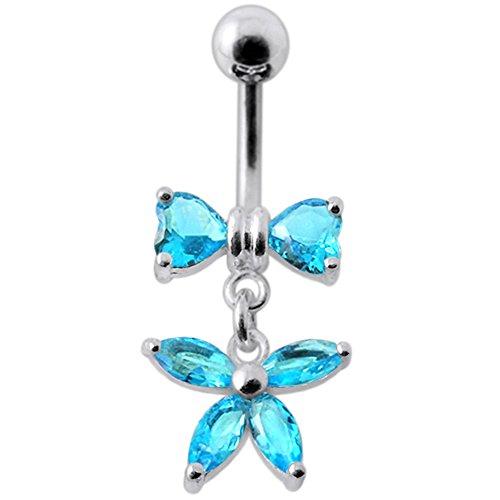 Hellblaue Crystal Stein Trendige Herz und Blume Design Sterling Silberbarren Bauch Piercing