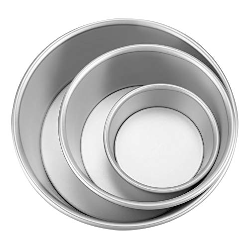 Aluminum Round Cake Pans, OAMCEG 3 Pcs (4'/7'/9') Professional Nonstick & Leakproof Round Baking Pans Layer Cake Pans Tin Set with Removable Bottom for Birthday Wedding Tier Cake