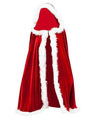 Il Mantello con Cappuccio Cosplay Adulto Costume delle Donne di Babbo Natale Mantelli Red F