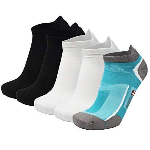 DANISH ENDURANCE Low Cut Pro Running Chaussettes  De Plusieurs Couleurs -  (1 x Bleu Caraïbes, 2 x Noir, 2 x Blanc) - 5 Paires) -  39-42 EU