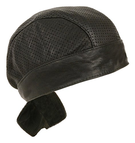 Unisex Leather Skull Cap - Solid and Perforated Versions (Black Perforated)