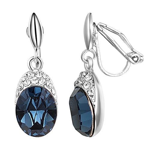 Yoursfs Blue Crystal Clip On Earrings Dangle For Women Girls Cubic Zirconia CZ Fashion Jewellry