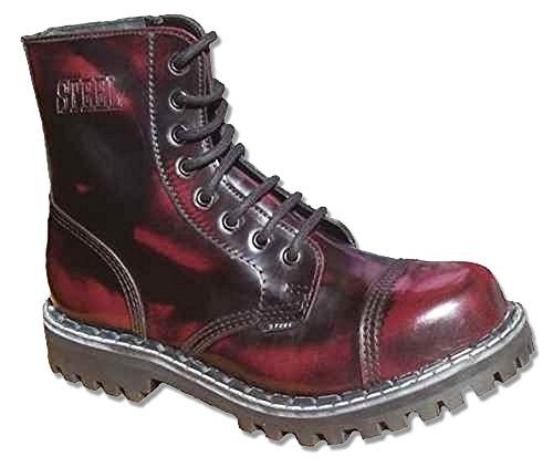 Steels 8 Loch Boots Burgund Rub Off, Grösse 41