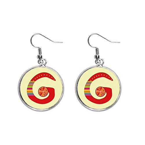 Brinco G alfabeto laranja fruta linda padrão orelha pendente prata joia feminina