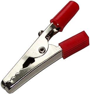 2x Pince fiche crocodile rouge 15A 60V DC machoire 4mm pour fiche banane 2mm