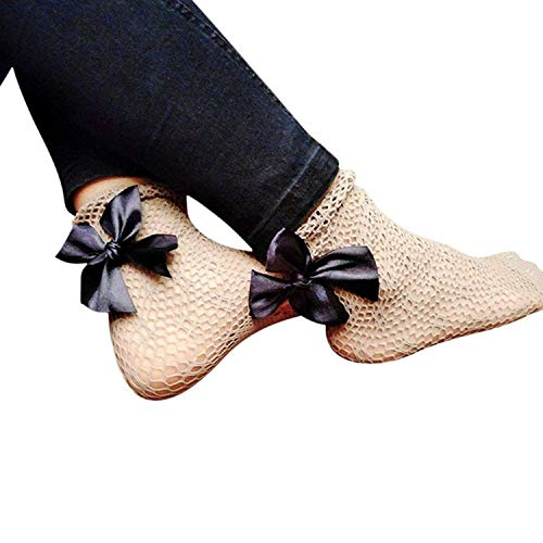 Eastery Damenmode Tie-Bow Mesh Socken Spitze Mesh Crinkle Socken Mesh Socken Einfacher Stil Socken Prime Day Bequeme Fashion Vintage Atmungsaktiv (Color : Blau, Size : One Size)