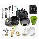 Kit de utensilios de cocina livianos para acampar, 1-2 personas Juego de cocina para acampar Utensilios de acampar antiadherentes Juego de ollas para acampar al aire libre Equipo de mochilero BBQ