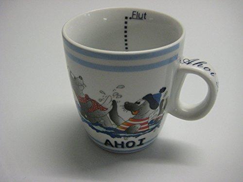 Tasse/Kinderbecher AHOI Seehunde im Meer mit Mütze/Innen Ebbe und Flut DER KLEINE 0,2l