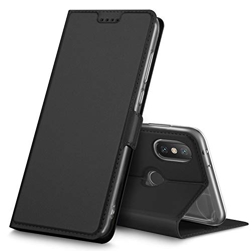 Geemai Xiaomi Mi A2 / Mi 6X Funda, Slim Case Protectora PU Funda Multi-ngulo a Prueba de Golpes y Polvo a Prueba de Silicona con Soporte Plegable para Xiaomi Mi A2 / Mi 6X .(Negro)