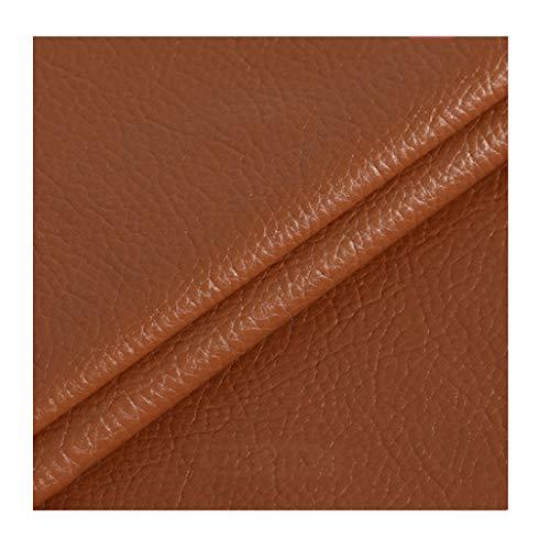 ZHANGAIZHEN Faux Leychee Pattern Color Sólido Lychee Pattern PU Tela De Cuero Faux Cuero Abrigo Faux Cuero Chaqueta Mujeres 138x100cm(Color:marrón)