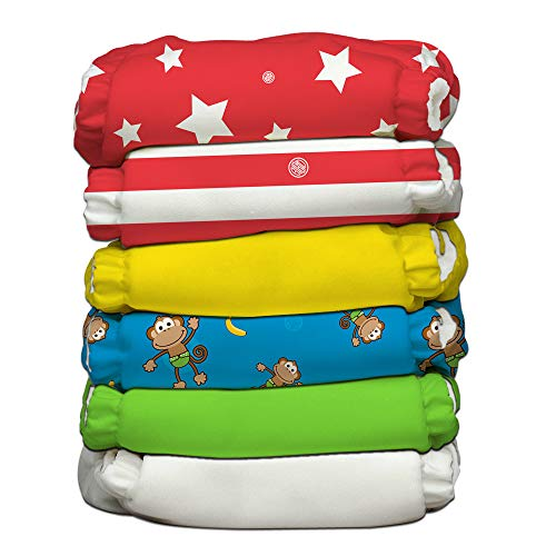 Charlie Banana Baby 2-in-1 Reusable Fleece Cloth Diapering System, Reusable and Washable, 6 Diapers and 12 Inserts, Circus, One Size