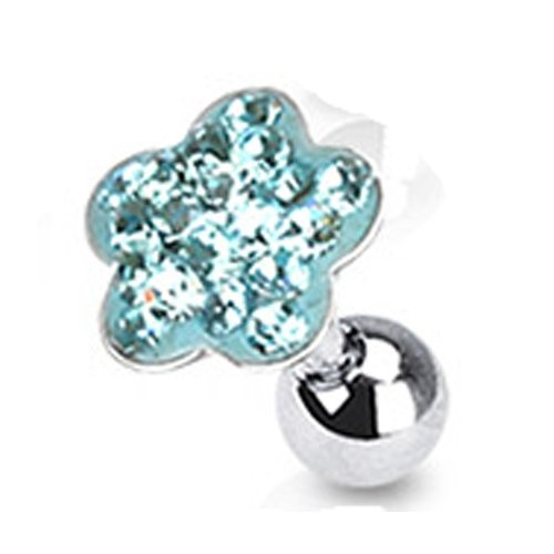 Helix piercing bloem aqua