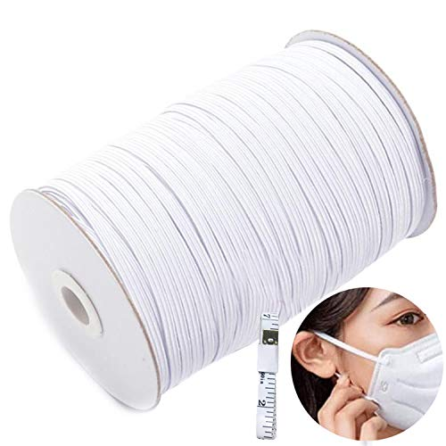 Longwu White 200-Yards Length 1/4' Width Braided Elastic Cord/Band/Rope/Bungee/Heavy Stretch Knit High Elastic Spool With Free Tape for Sewing Crafts DIY Ear Band Loop (White-200Yards)