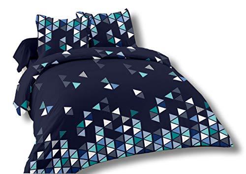Cflagrant® - Funda nórdica de 220 x 240 cm para 2 personas y 2 fundas de almohada de 65 x 65 cm, 100% algodón de 57 hilos, color azul marino, gris y blanco