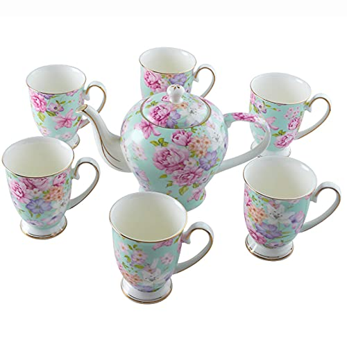 Tea Set For Adults Bone China Cups For Afternoon Tea And Coffee Teapot With 6 Tea Cups Large Capacity Water Cups Coffee Mugs Green