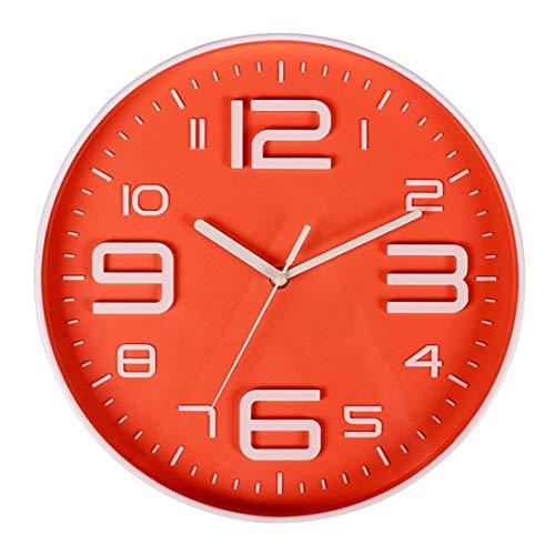 Tiamu Reloj De Pared Sin Tictac Silencioso De Cuarzo De Número 3D Grande Interior Decorativo Funciona con Batería 10 Pulgadas Naranja
