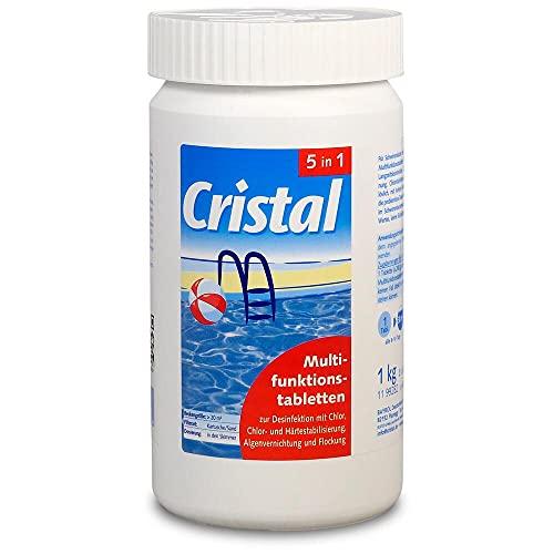 Cristal Multifunktionstabletten Chlor 5 in 1 (200g) 1,0 kg Komplettpflege zur Pool- Desinfektion