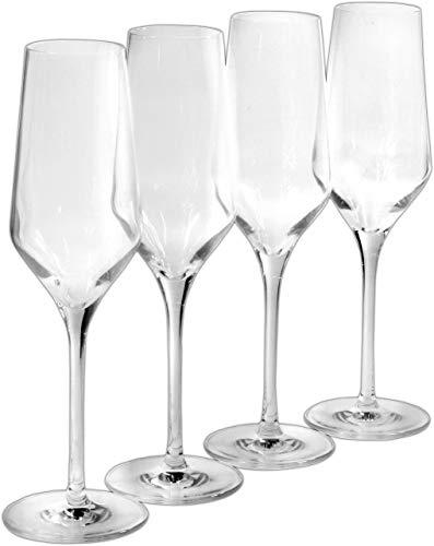 Fontignac 4 Stück Sektglas Sektgläser aus Kristallglas (252 ml) Champagnerglas Glas für Sekt im Set