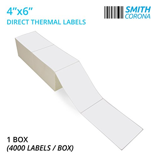 """Smith Corona - 2 Stacks - Fanfold 4"""" x 6"""" Direct Thermal Labels, 4000 Labels Total, Made in The USA, for Thermal Printers (2000 Labels Per Stack) - Zebra Compatible"""