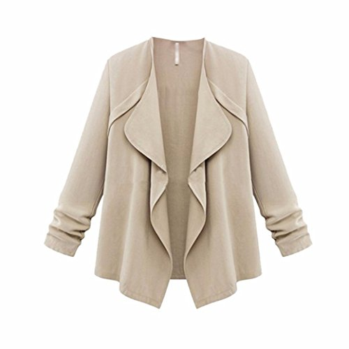 Best Deals! Han Shi Women Cardigans, Fashion Ruffles Autumn Spring Cuffed Sleeve Loose Coat Plus Siz...
