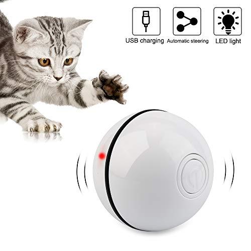 Vegena Katzenspielzeug Elektrisch Ball mit LED-Licht, Interaktives Katzenball Glitzer Automatisch Katzenspielzeug Wiederaufladbares USB-katzenbälle